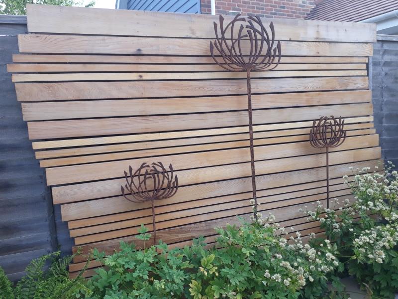 9 Garden cedar panel and seed head sculptures