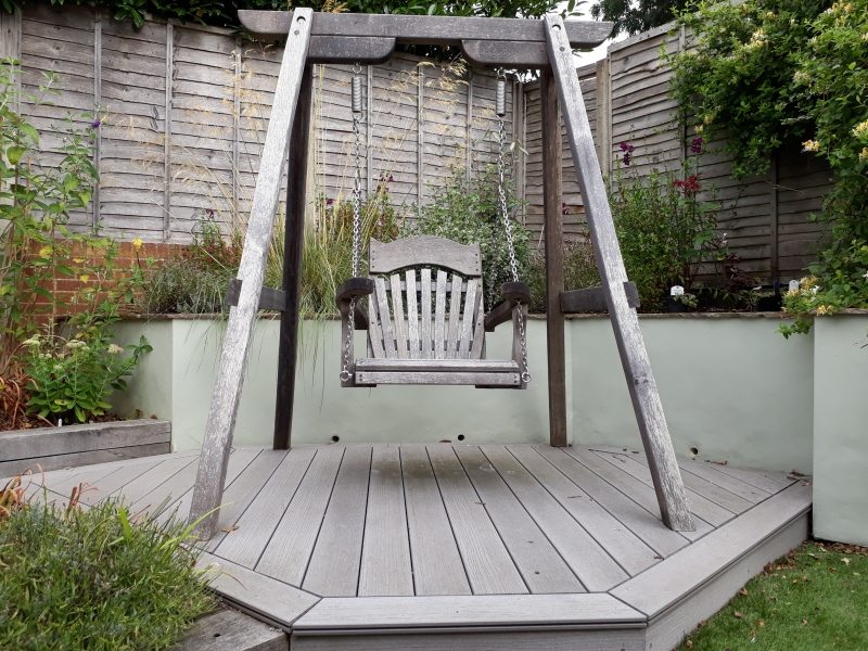 7 Swing seat garden design after 2 years