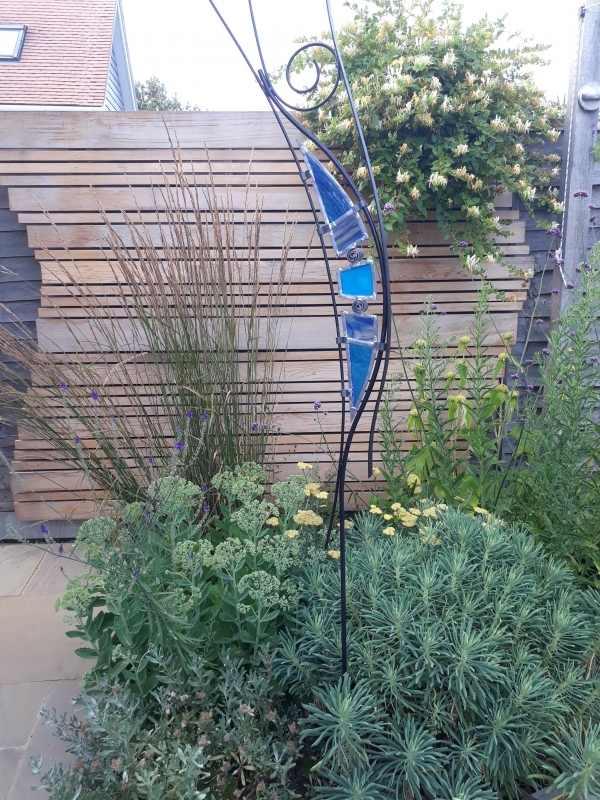 6 Garden cedar panel and stained glass feature